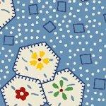 60 Wide Back Aunt Grace Hexagons on Blue