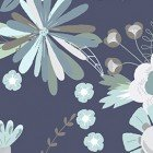 Clothworks Secret Garden Lt. Navy (Large Flowers) - copy