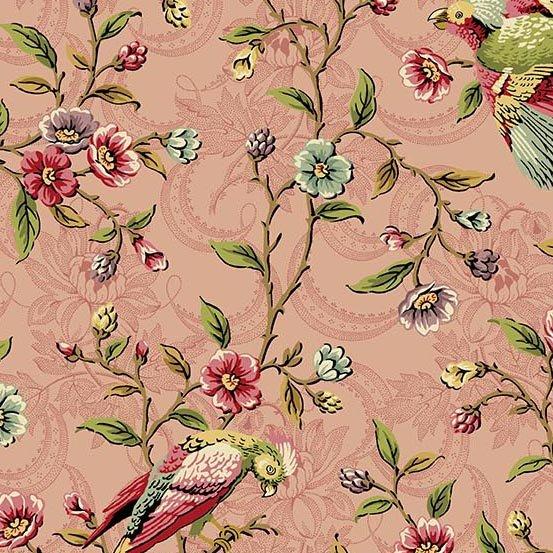Fabric - Bally Hall Birds on a Vine - Rose
