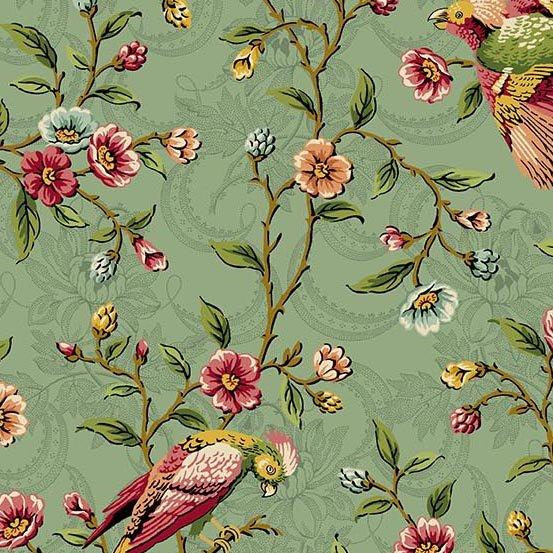 Fabric - Bally Hall Birds on a Vine - Teal