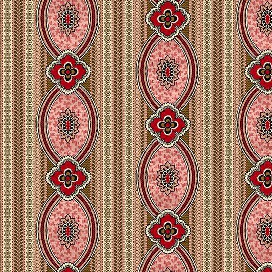 Fabric - Bally Hall Medallion Stripe - Rose