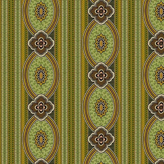 Fabric - Bally Hall Medallion Stripe - Olive
