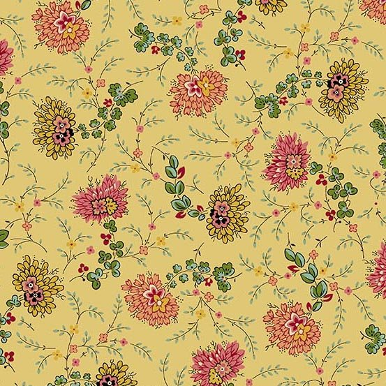 Fabric - Bally Hall Delicate Floral - Mustard