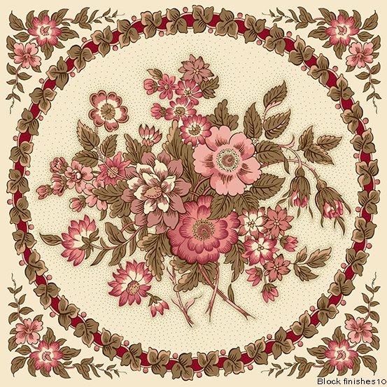 Fabric - Windermere Panel Bouquet - Rose