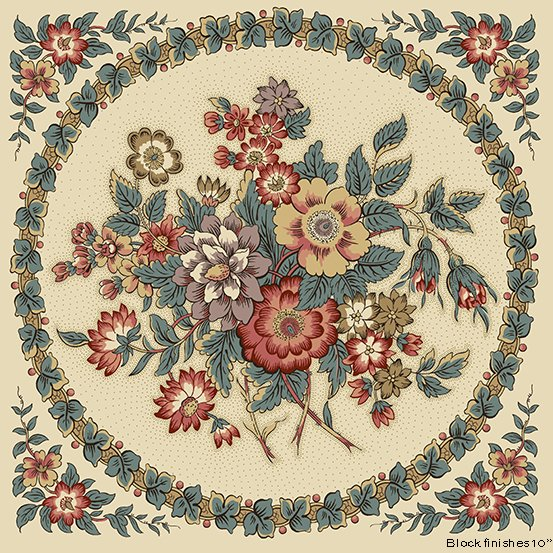 Fabric - Windermere Panel Bouquet - Aqua