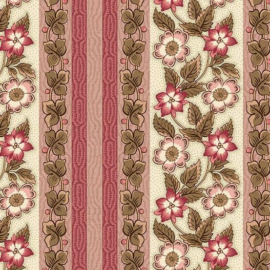 Fabric - Windermere Floral Stripe - Rose