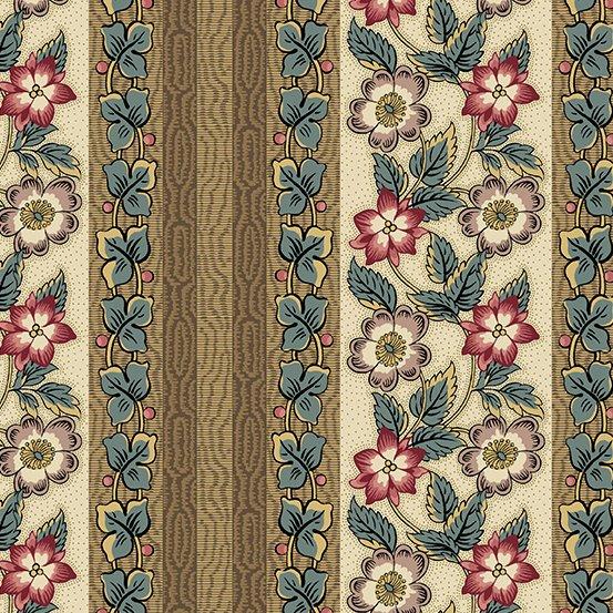 Fabric - Windermere Floral Stripe - Teal