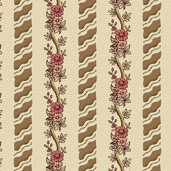 Fabric - Windermere Curling Flowers - Khaki