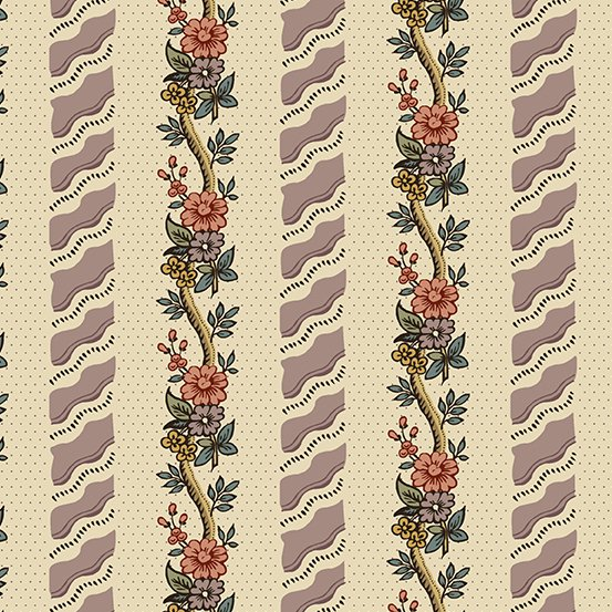 Fabric - Windermere Curling Flowers - Mauve
