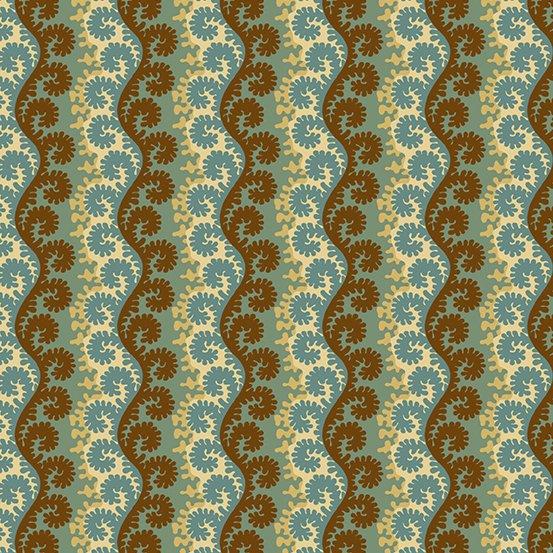 Fabric - Windermere Scrolling Stripe - Teal