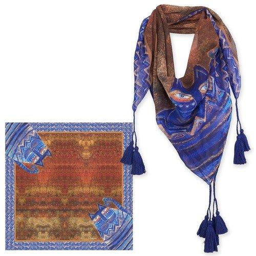 Scarf - Azul Sq. w/tassels