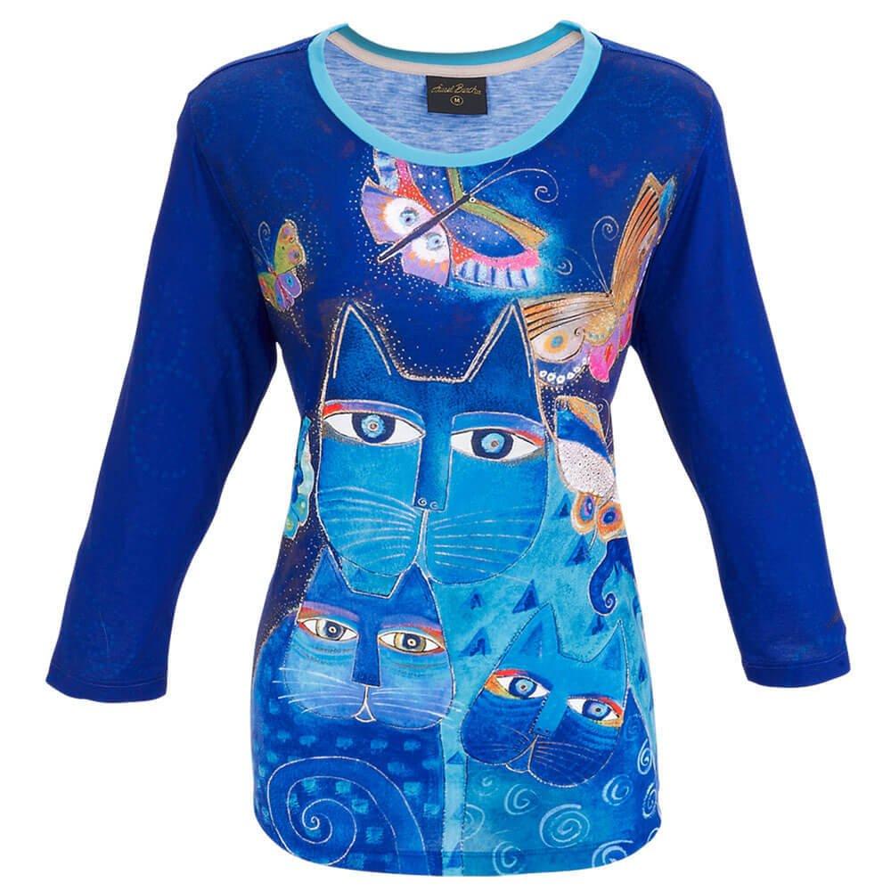 LB T-shirt Indigo Cats 3/4 sleeve