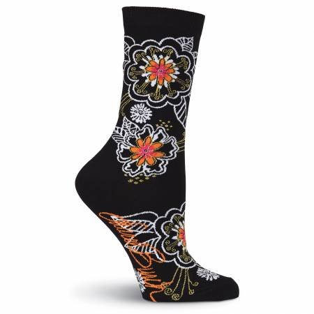 LB Socks -  B&W Floral