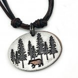 Jewelry - Oval Pendant Bear in the Woods Necklace