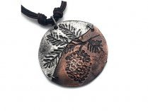 Jewelry - Pewter Two-Tone Pine Cone Round