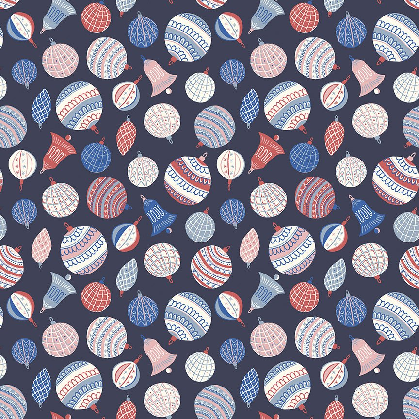 Liberty Fabrics Merry and Bright - Bauble Bonanza B (Blue)