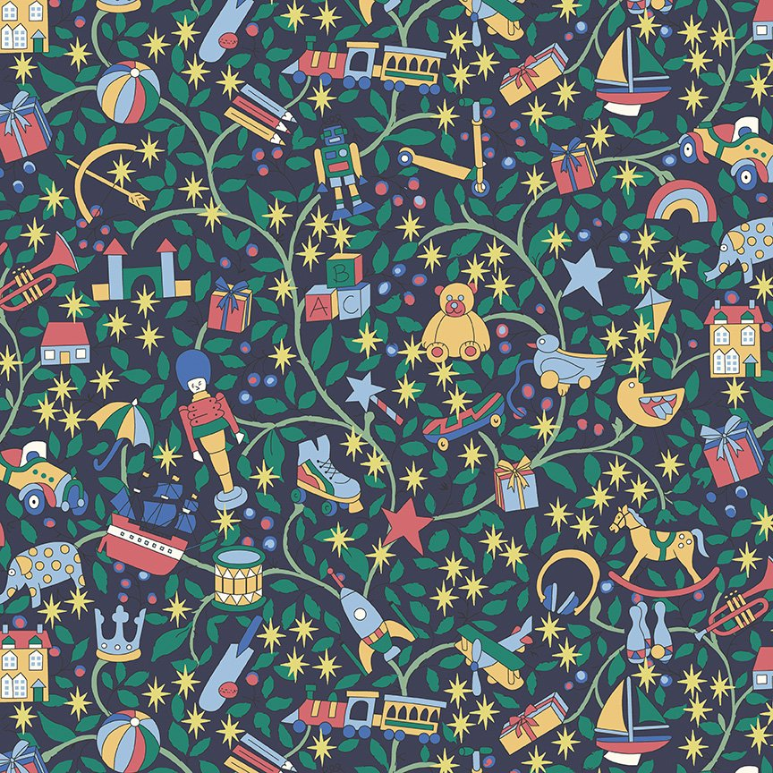Liberty Fabrics Merry and Bright - Magical Forest A (Blue)