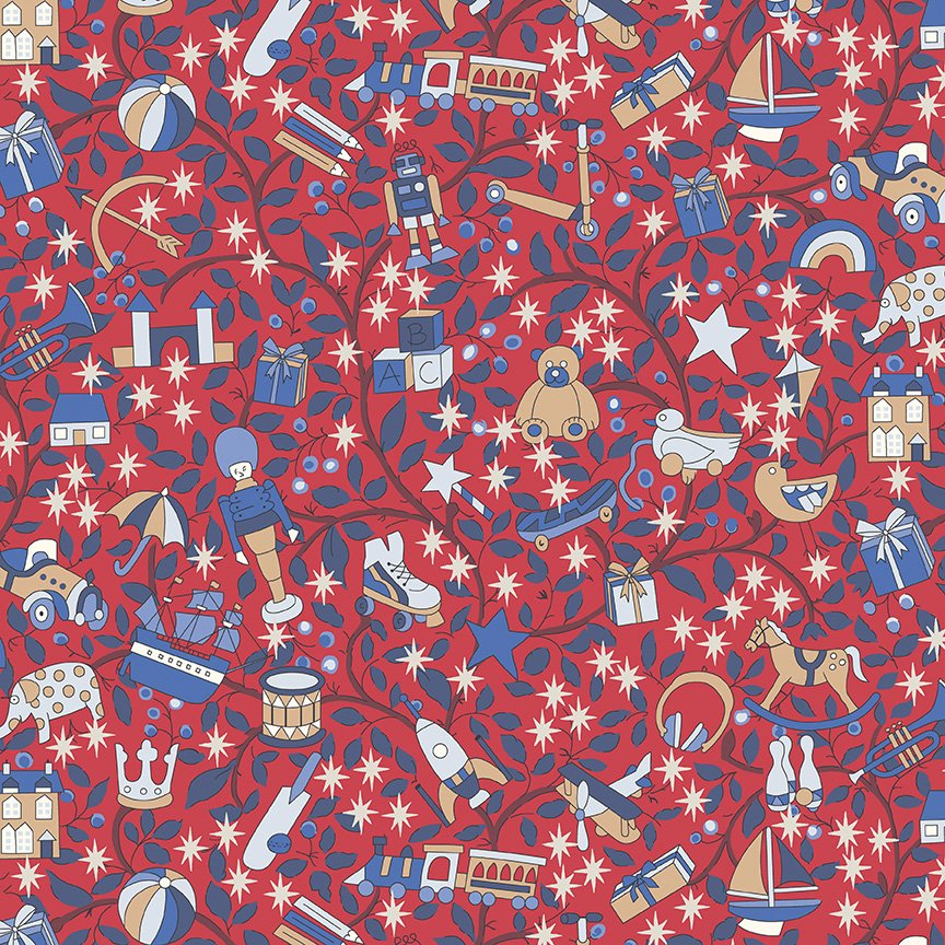 Liberty Fabrics Merry and Bright - Magical Forest B (Red)