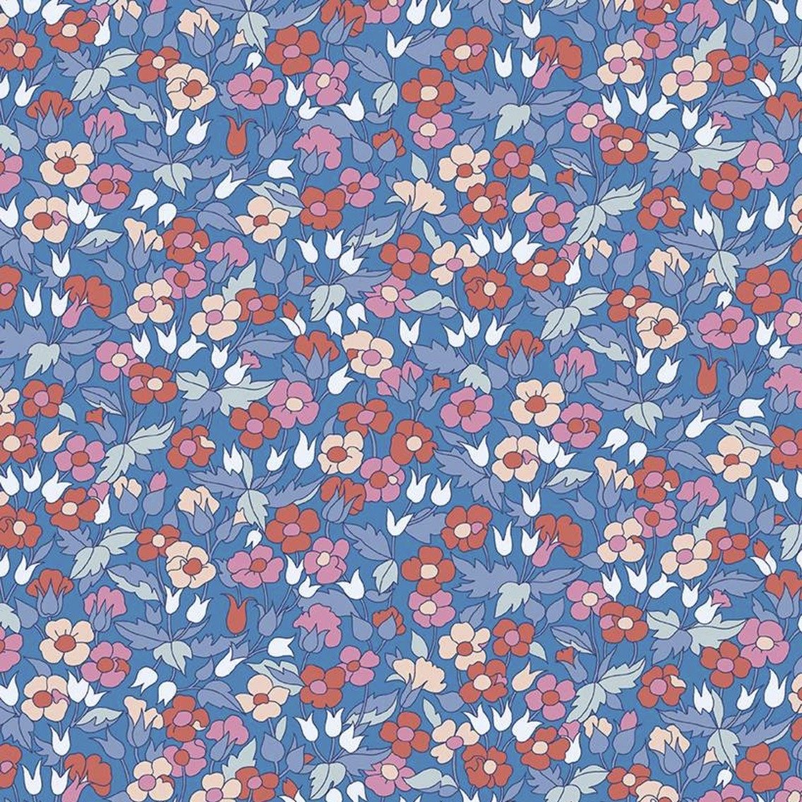 Liberty Fabrics The Carnaby Collection - Retro Indigo (Piccadilly Poppy A)
