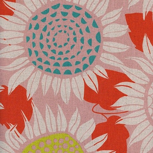 Sarah Watts Front Yard Canvas - Sunflowers (Pink)