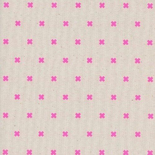 Cotton + Steel Basics - XOXO (Neon Flamingo)