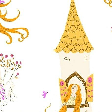 Heather Ross Far Far Away 2 - Rapunzel (White)