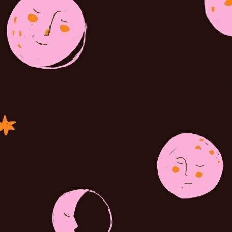 Heather Ross Far Far Away 2 - Moons (Black)