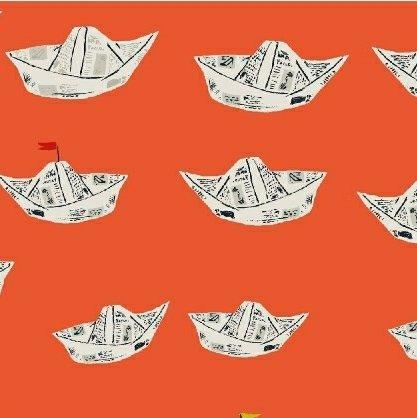 Heather Ross Far Far Away 2 - Newspaper Boats (Red Orange)