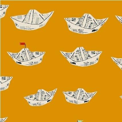 Heather Ross Far Far Away 2 - Newspaper Boats (Orange)