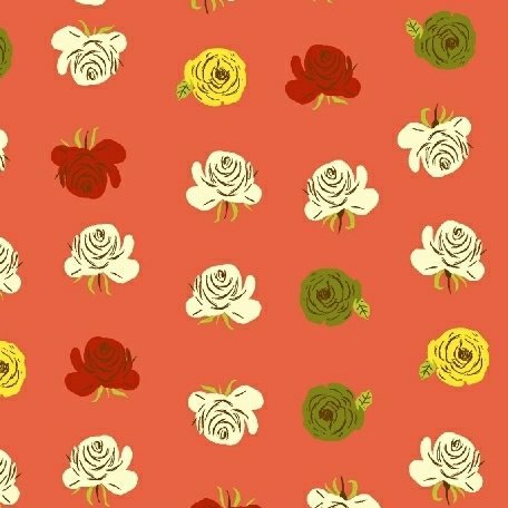 Heather Ross Far Far Away 2 - Roses (Red Orange)