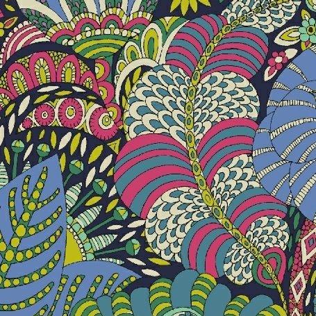 Sally Kelly Fantasy Lawn - Floral Fantasy (Navy)