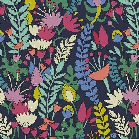 Sally Kelly Fantasy Lawn - Florabundent (Navy)