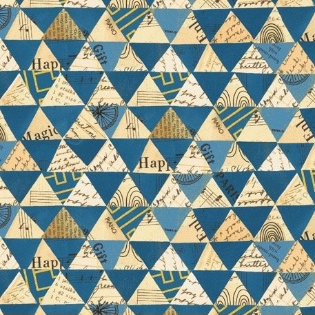 Carrie Bloomston Wish - Collaged Triangles (Peacock Metallic)