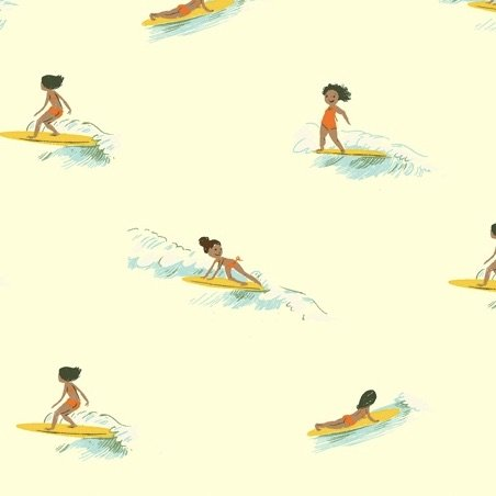 Heather Ross Malibu - Tiny Surfers (Cream)