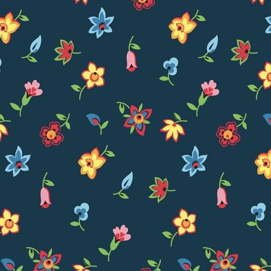 Denyse Schmidt Five and Ten - Floral Toss (Navy)