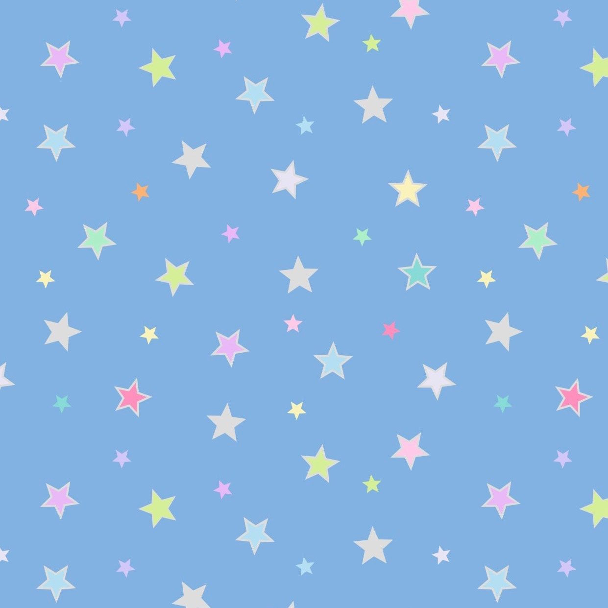 Lewis & Irene Rainbows - Pastel Stars (Blue with Silver Metallic)