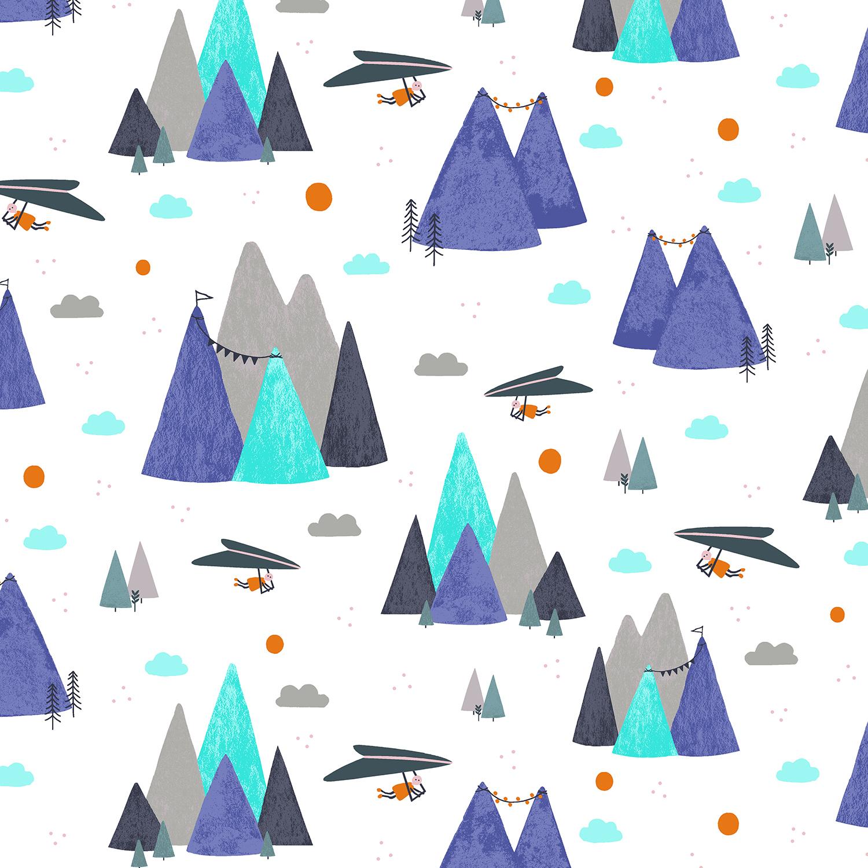Cotton + Steel Summer Skies - Mountain Skies (Violet)