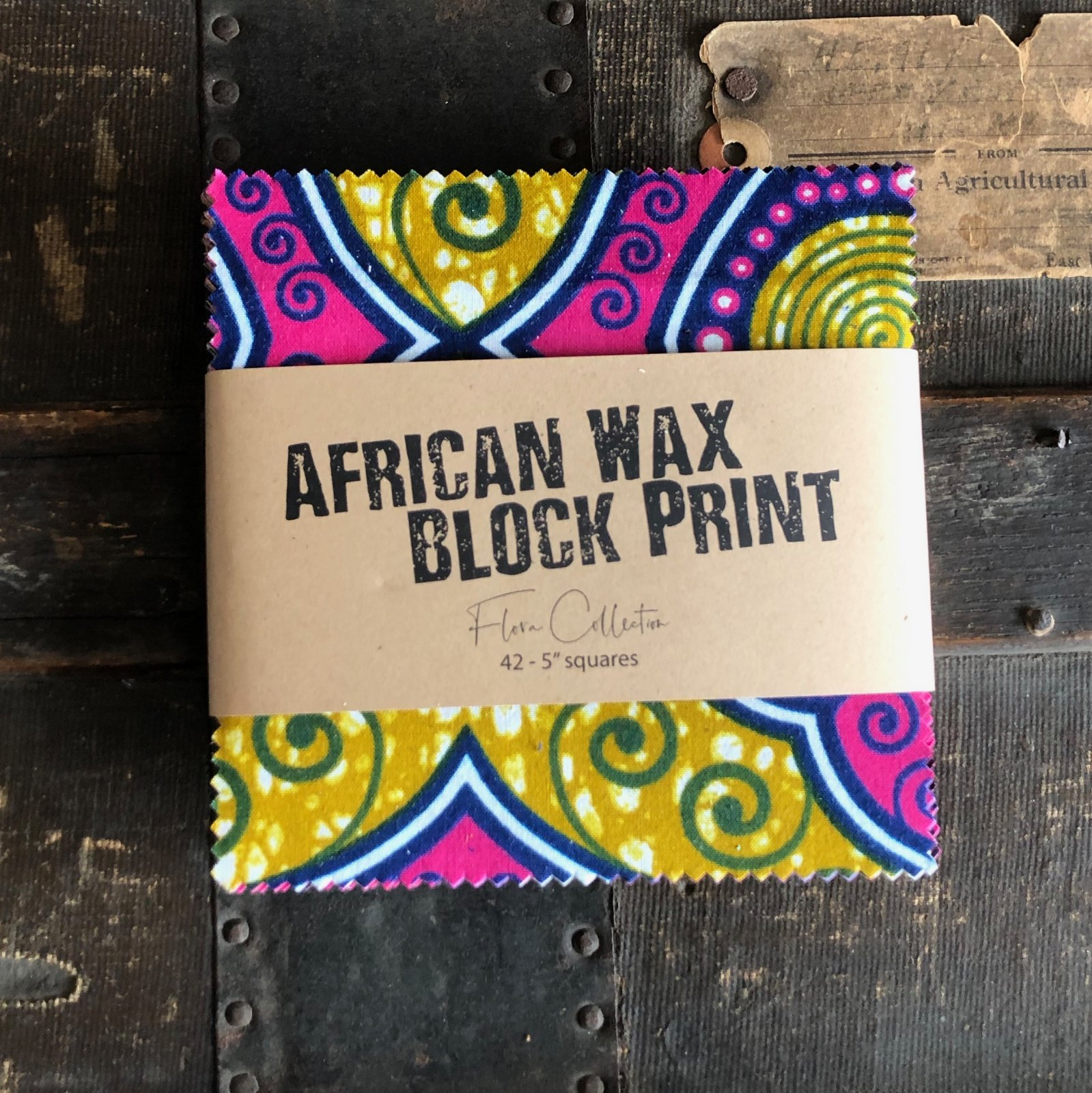 African Wax Block Print Charms - (42) 5 squares