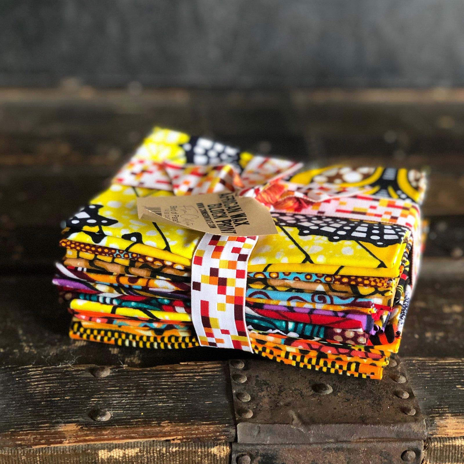 African Wax Block Print - 14 pc. Fat Quarter Bundle (Bird of Paradise)