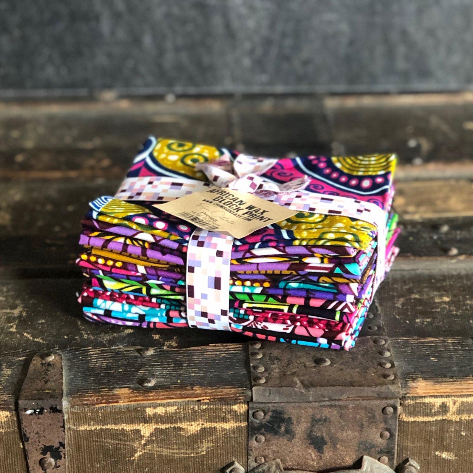 African Wax Block Print - 14 pc. Fat Quarter Bundle (Protea)