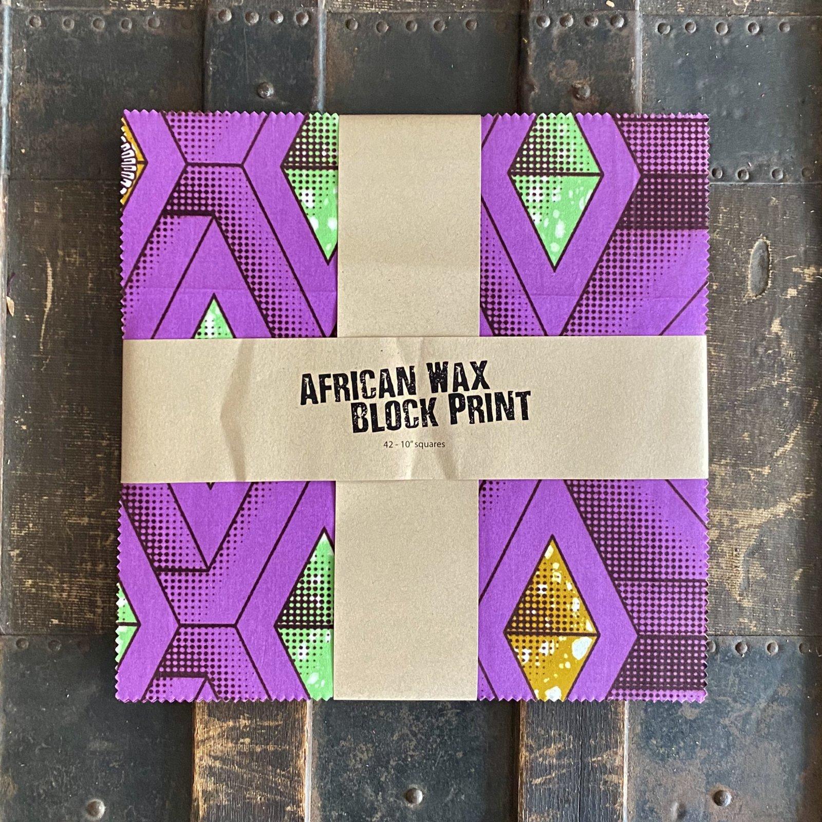 African Wax Block Print - (42) 10 squares