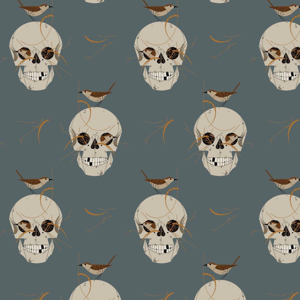 Charley Harper Barkcloth - Wrented (Slate)