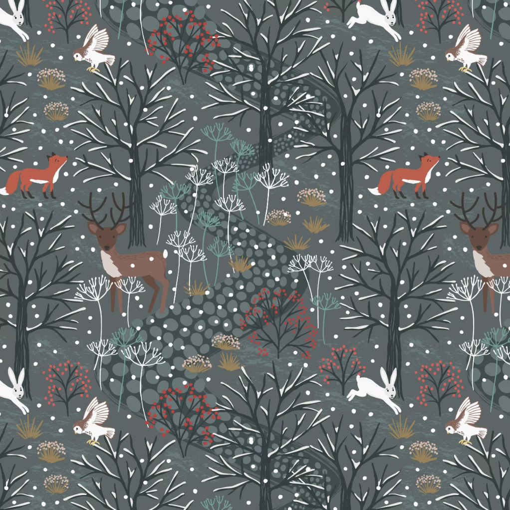 Lewis & Irene Winter in Bluebell Wood - Winter Woods (Dark Grey)
