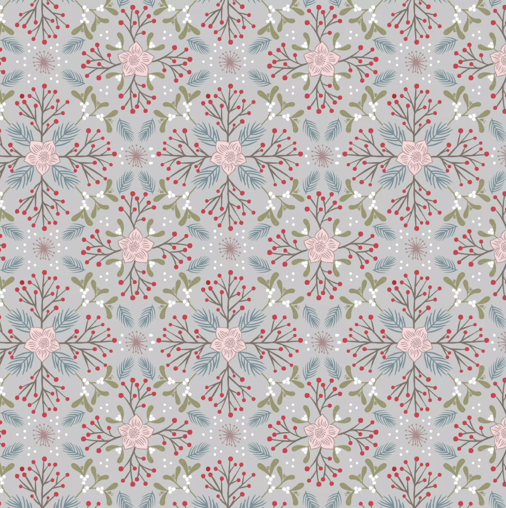 Lewis & Irene Winter in Bluebell Wood - Winter Floral (Grey)