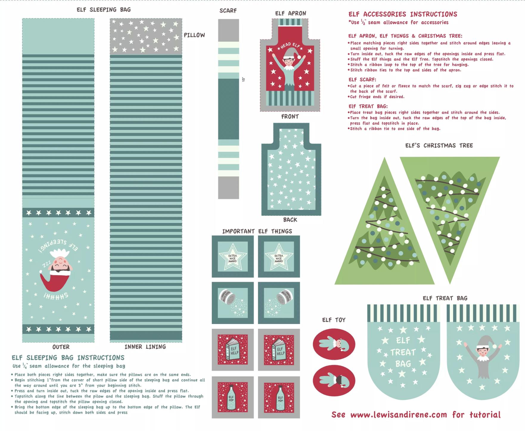 Lewis & Irene Christmas Glow - Elf Accessories Panel (Blue)