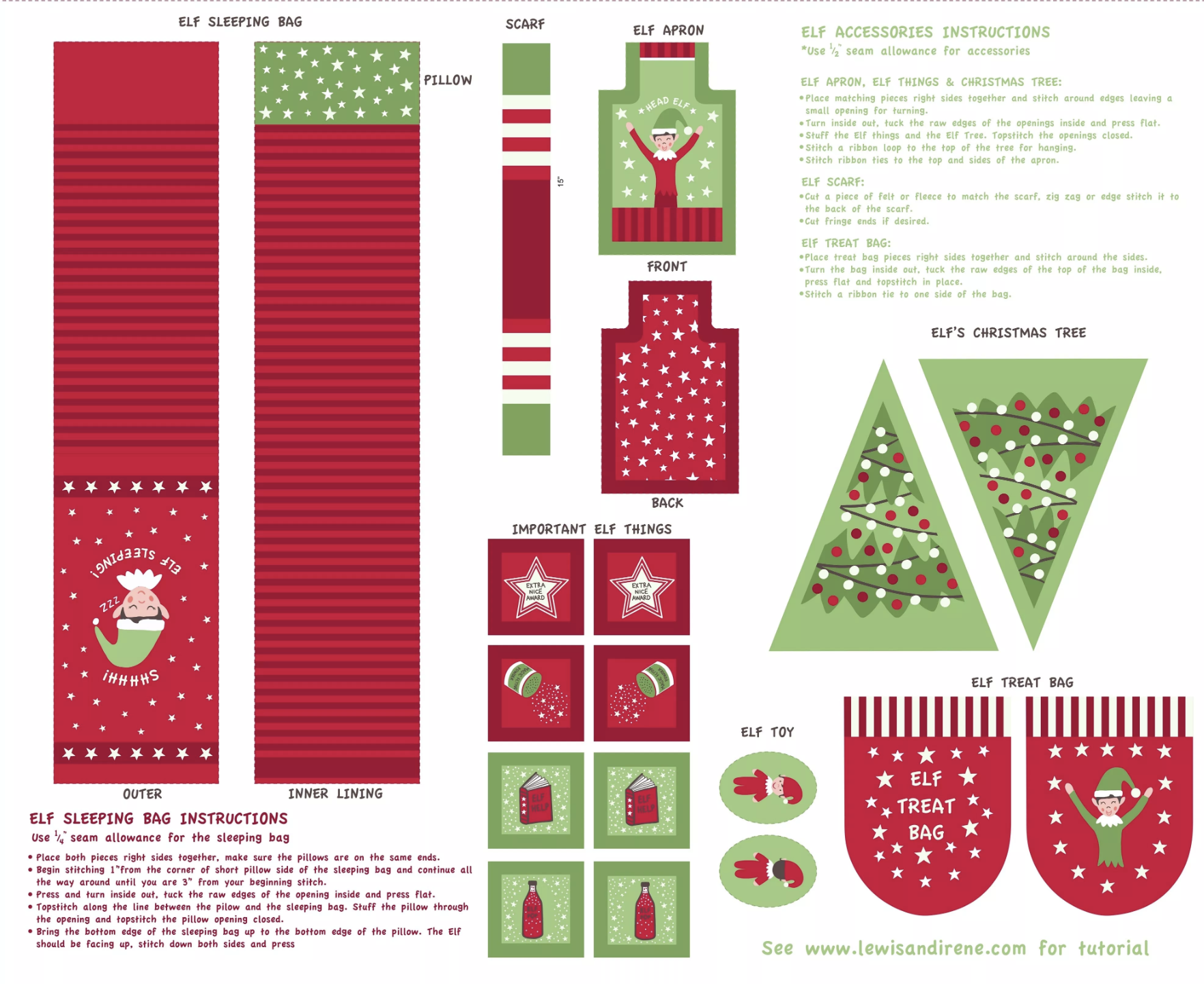 Lewis & Irene Christmas Glow - Elf Accessories Panel (Red)