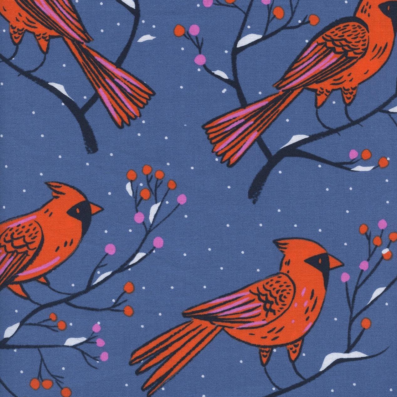 Cotton + Steel Frost - Winter Cardinals (Blue)