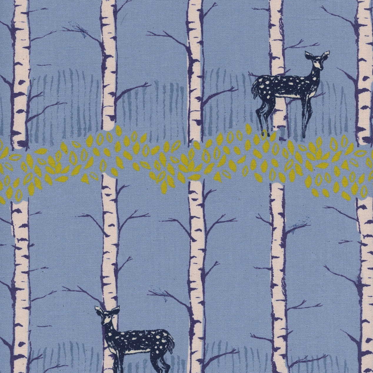 Cotton + Steel Frost - Fawn Forest (Blue)