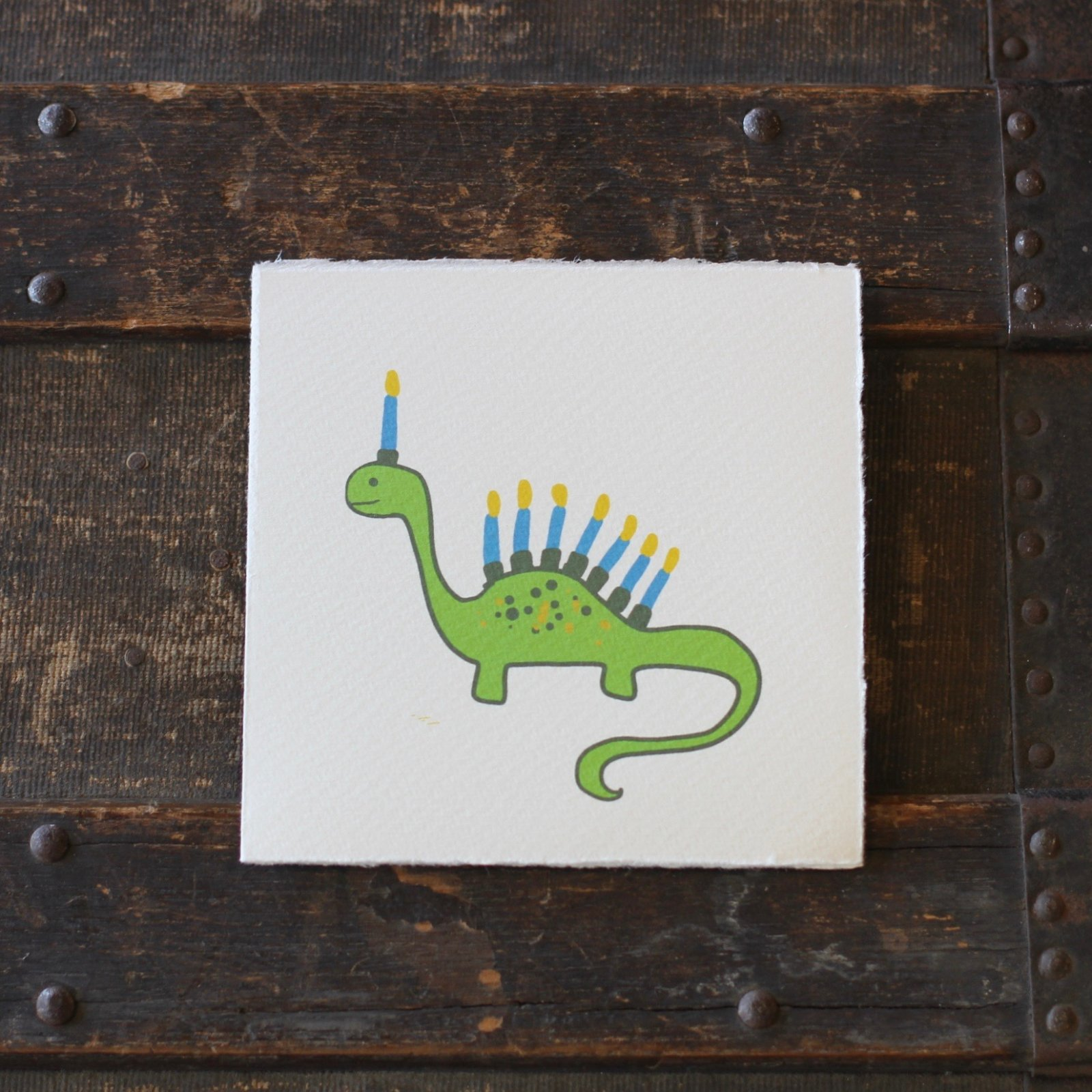 Dino Menorah Card