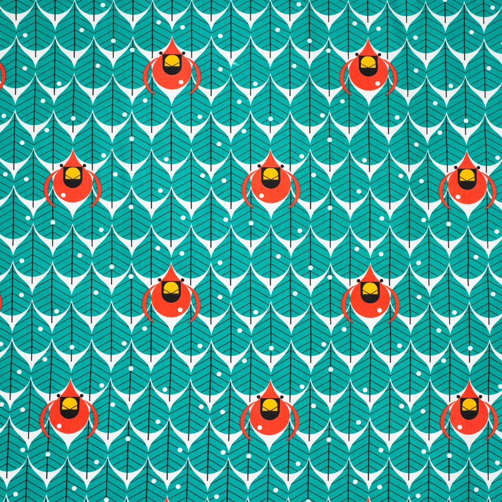 Charley Harper Winter Wonderland - Coniferous Cardinal